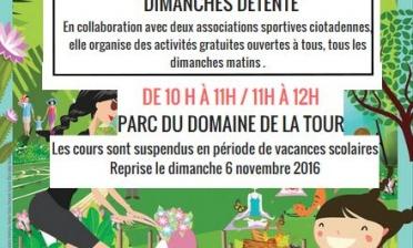 """NOUVEAU """"Dimanches détente"""" au Parc du Domaine de la Tour"""