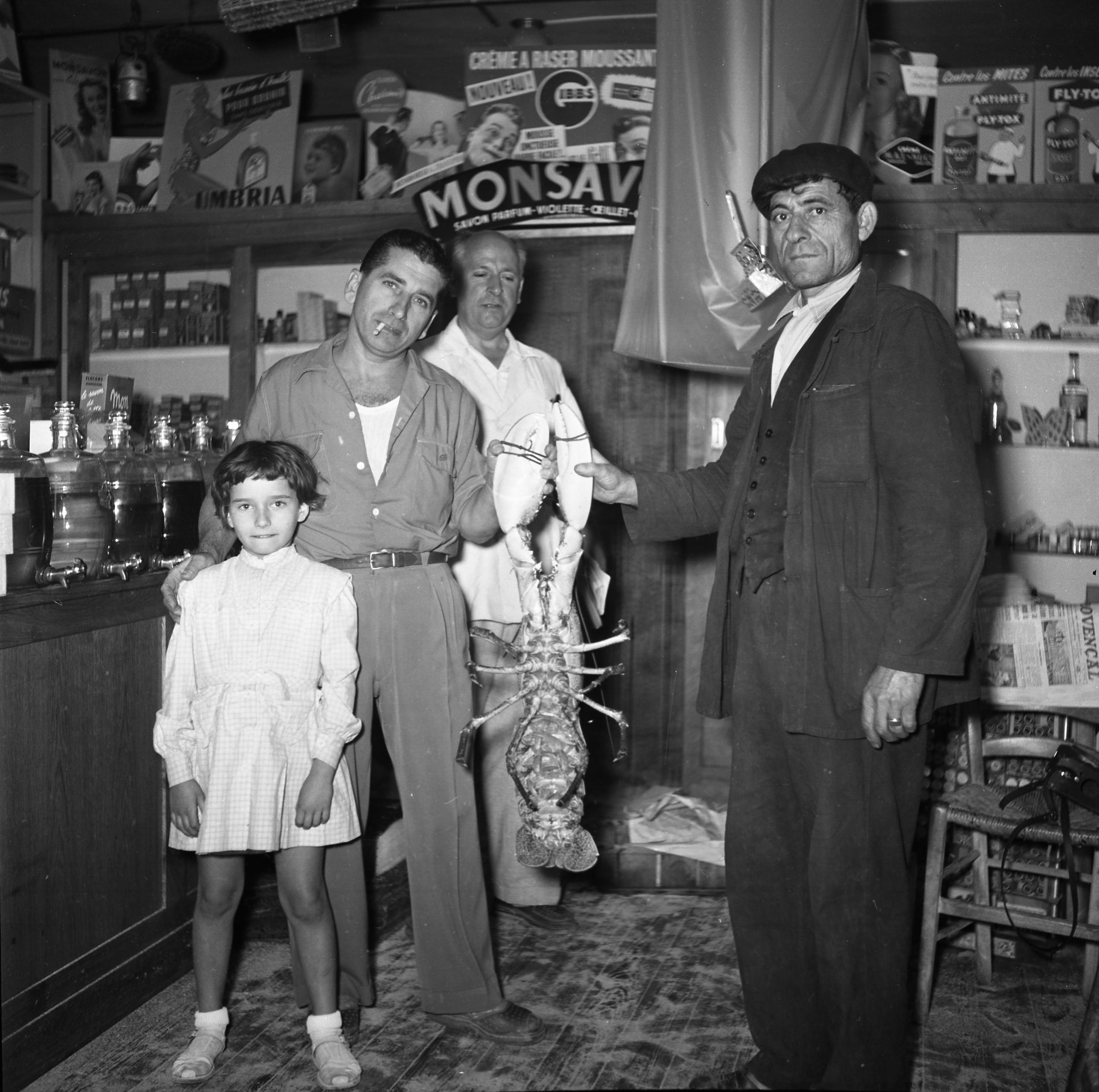 27 Fi 3337 Pêche d'un homard géant à La Ciotat. Incroyable ! 25/09/1954