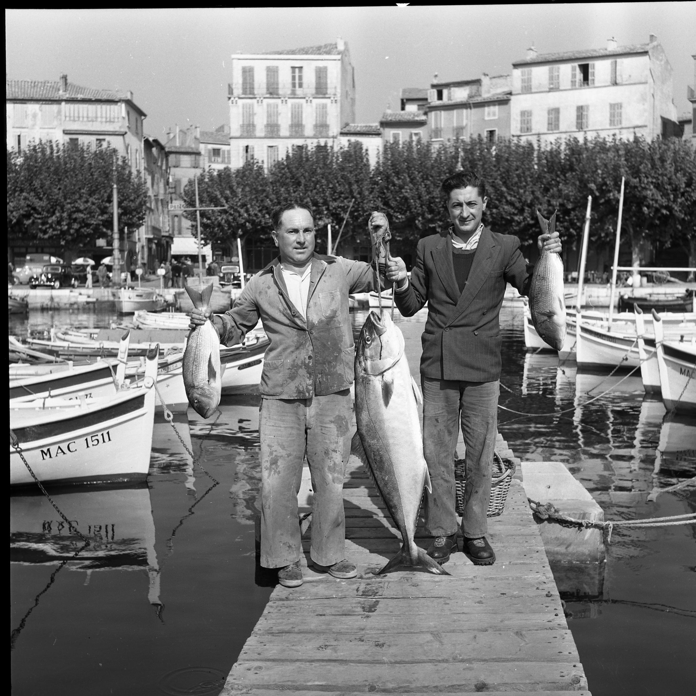 27 Fi 3454 « Nos concitoyens Audry et Debiez ont eu la chance avec eux lors de leur partie de pêche de jeudi. A leur tableau de … pêche, figuraient un thon et deux belles daurades ». 15/10/1954